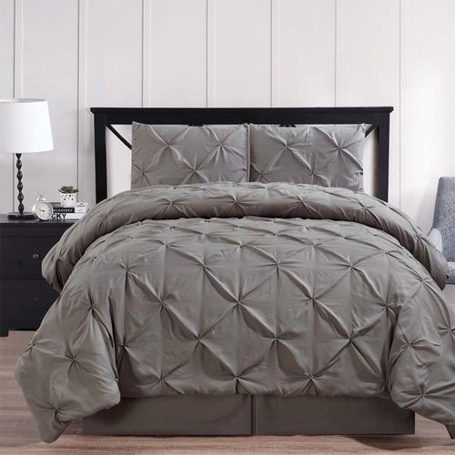 Gray Oxford Double Needle Luxury Soft Pinch Pleated Comforter Set