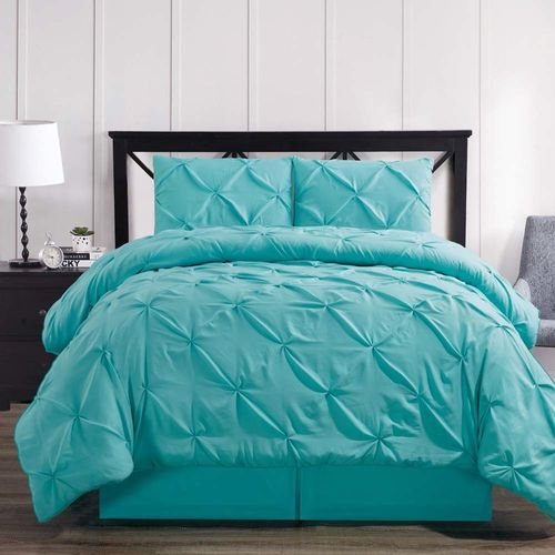 Aqua Blue Oxford Double Needle Luxury Soft Pinch Pleated Comforter Set
