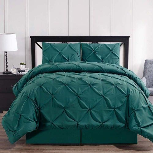 Teal Oxford Double Needle Luxury Soft Pinch Pleated Comforter Set
