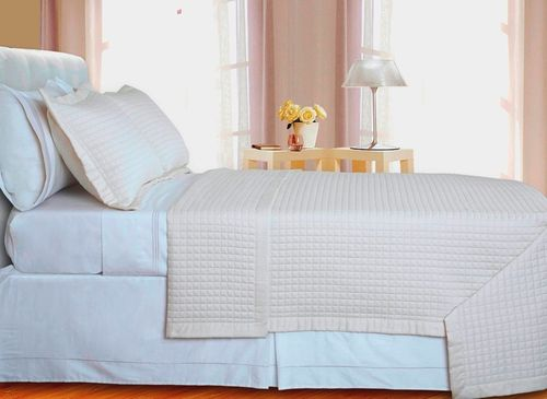 400 Thread Count Checkered Combed Cotton Coverlet Set