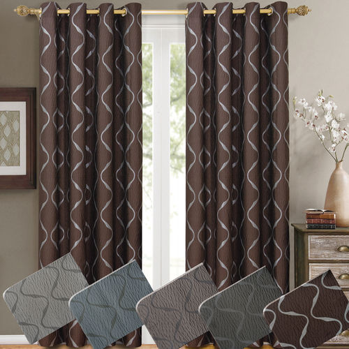 Laguna Pair (Set of 2) Jacquard Grommet Window Curtain Panels