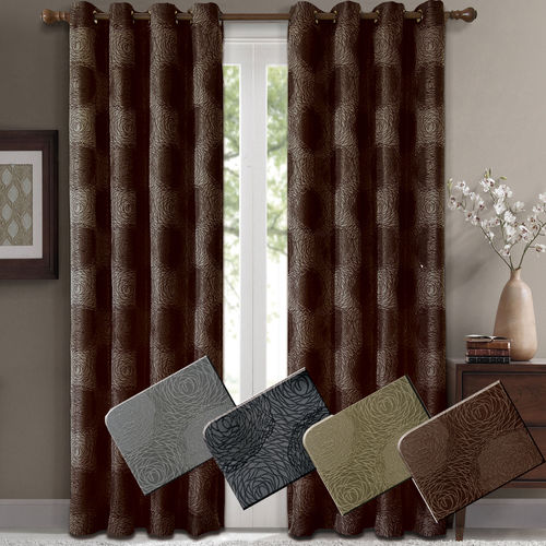 Lexington Pair (Set of 2) Jacquard Grommet Window Curtain Panels