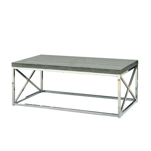 Modern Coffee Table with Chrome Metal Frame and Dark Tape Wood Top