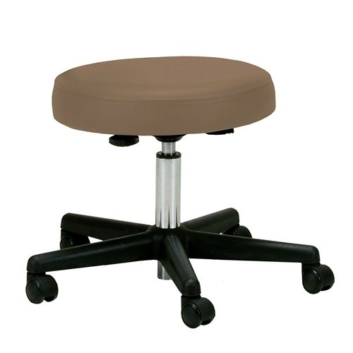 Adjustable Height Pneumatic Rolling Stool with Latte Brown Padded Seat by Earthlite Massage