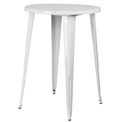 White 30-inch Round Outdoor Metal Bar Bistro Patio Table