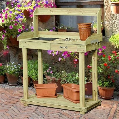 Natural Wood Potting Bench Table with Sink and Outdoor Storage Space