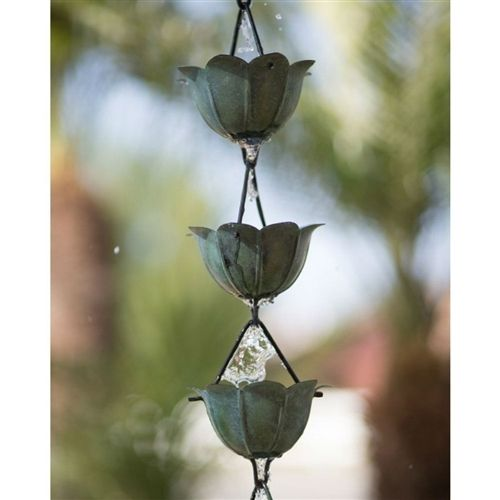 Pure Copper 8.5 Ft Lotus Flower Rain Chain with Green Patina