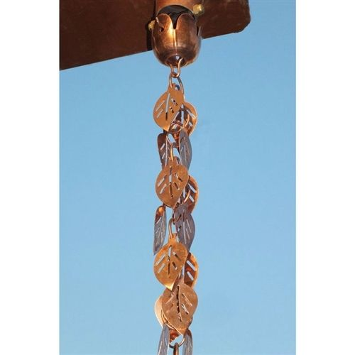 Pure Copper 8.5 Ft Leaf Rain Chain Gutter Rainwater Downspout
