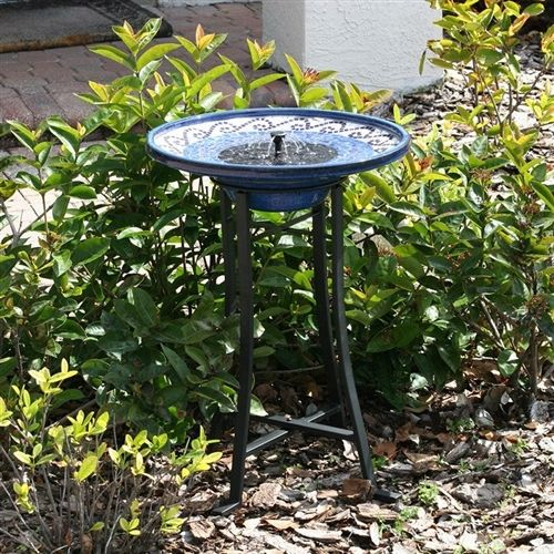 Outdoor Ceramic Bowl Fountain Bird Bath with Metal Stand and Solar Pump