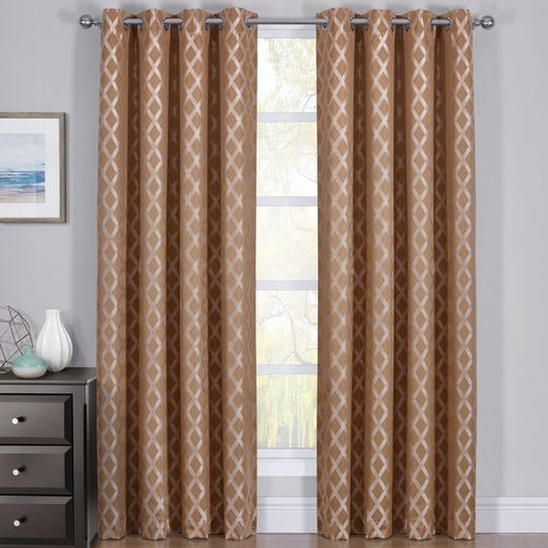100% Blackout Curtain Panels Rosaline - Woven Jacquard Triple Pass Thermal Insulated (Set of 2 Panel