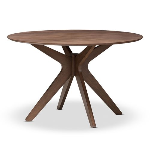 Baxton Studio Monte Mid-Century Modern Walnut Wood 47-Inch Round Dining Table