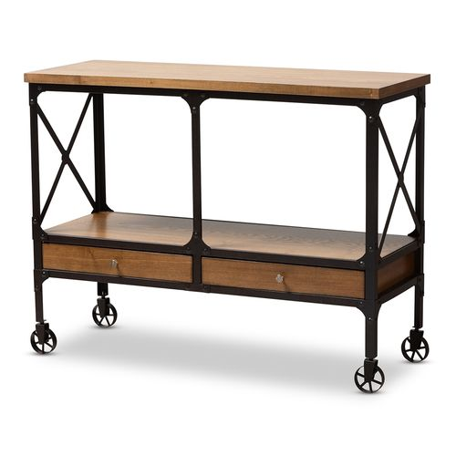 Baxton Studio Alves Vintage Rustic Industrial Style Wood and Dark Bronze Finished Metal Wheeled Cons