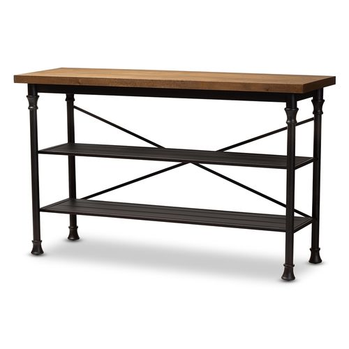 Baxton Studio Velera Vintage Rustic Industrial Style Wood and Dark Bronze-Finished Metal Kitchen Sto