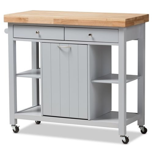 Baxton Studio Hayward Coastal and Farmhouse Light Grey Wood Kitchen Cart
