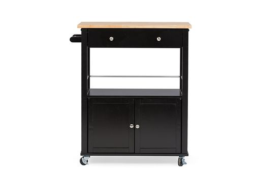 Baxton Studio Denton Contemporary Black Kitchen Cart with Wood TopOne (1) Kitchen Cart