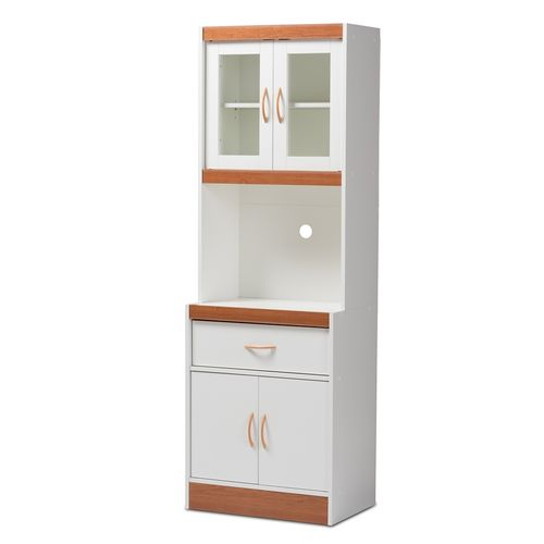Baxton Studio Laurana Modern and Contemporary White and Cherry Finished Kitchen Cabinet and Hutch