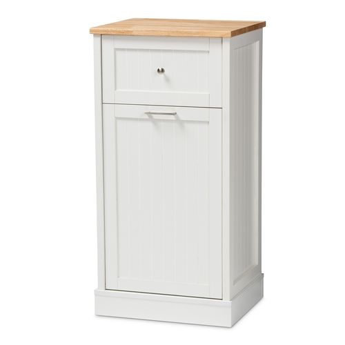 Baxton Studio Marcel Farmhouse and Coastal White and Oak Brown Finished Kitchen Cabinet