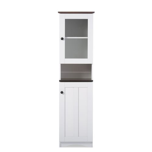 Baxton Studio Lauren Modern and Contemporary Two-tone White and Dark Brown Buffet and Hutch Kitchen