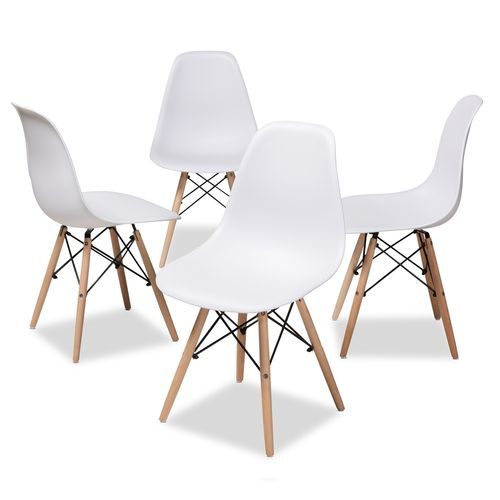Baxton Studio Sydnea Mid-Century Modern White Acrylic Brown Wood Finished Dining Chair (Set of 4)