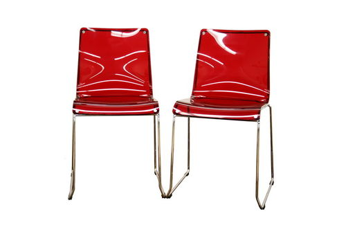 Baxton Studio Lino Transparent Red Acrylic Accent Chair Dining Chair (Set of 2)