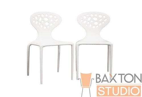 Baxton Studio DURANTE White Plastic Molded Chair Set of 2