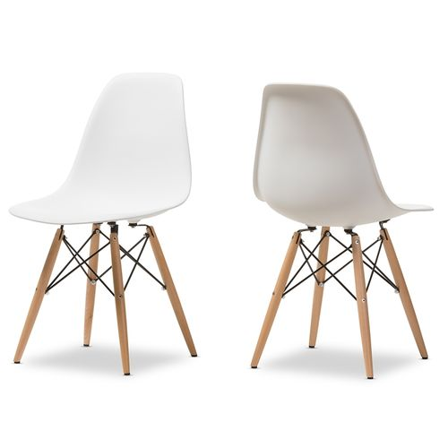 Baxton Studio AZZO Plastic Side Chair Set of 2