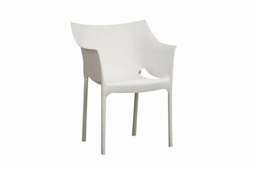 Baxton Studio White Molded Plastic Arm Chair Set of 2