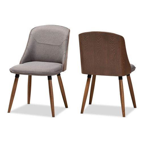 Baxton Studio Arsanio Mid-Century Modern Grey Fabric Upholstered Walnut Wood Finished Dining Chair S