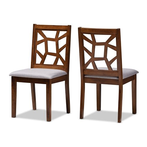 Baxton Studio Abilene Mid-Century Grey Fabric Upholstered and Walnut Brown Finished Dining Chair Set