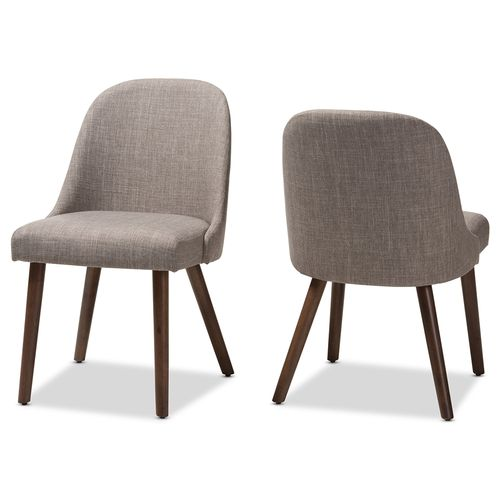 Baxton Studio Cody Mid-Century Modern Light Grey Fabric Upholstered Walnut Finished Wood Dining Chai