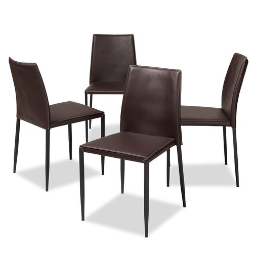 Baxton Studio Pascha Modern and Contemporary Brown Faux Leather Upholstered Dining Chair (Set of 4)