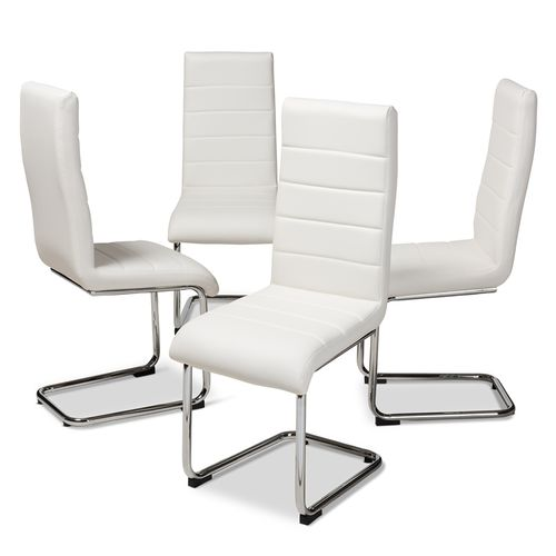 Baxton Studio Marlys Modern and Contemporary White Faux Leather Upholstered Dining Chair (Set of 4)
