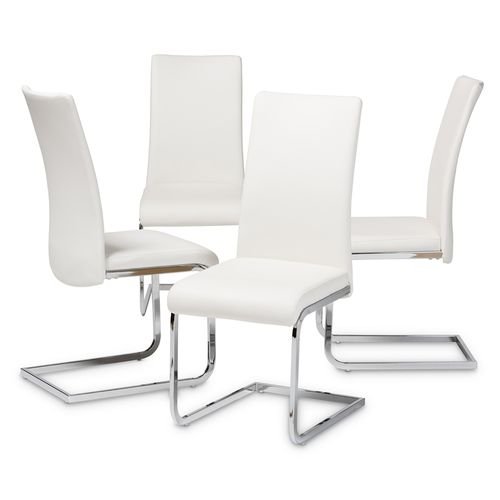 Baxton Studio Cyprien Modern and Contemporary White Faux Leather Upholstered Dining Chair (Set of 4)