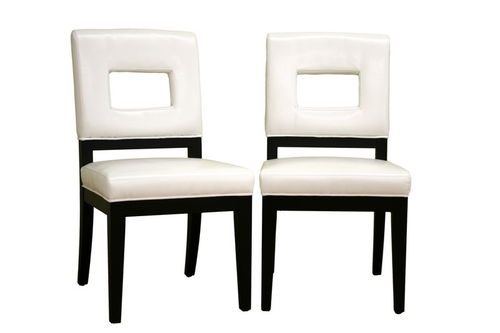 Baxton Studio Faustino Cream Leather Dining Chair Set of 2