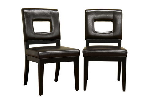 Baxton Studio Faustino Dark Brown Leather Dining Chair Set of 2
