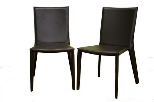 Baxton Studio Semele Dark Brown Leather Dining Chair Set of Two