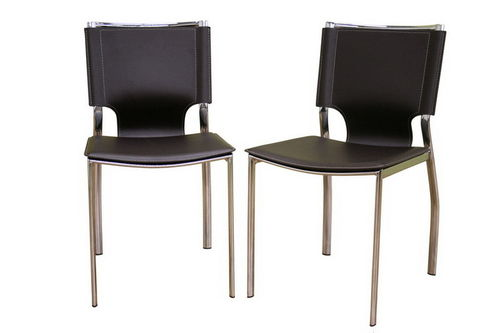 Baxton Studio Dark Brown Leather Dining Chair with Chrome Frame Set of Two
