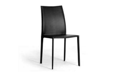 Baxton Studio Rockford Modern and Contemporary Black Bonded Leather Upholstered Dining Chair - Set o