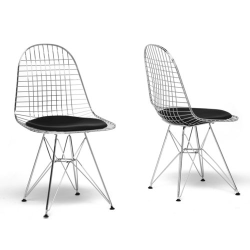 Baxton Studio Avery Mid-Century Modern Wire Chair with Black Cushion (Set of 2)