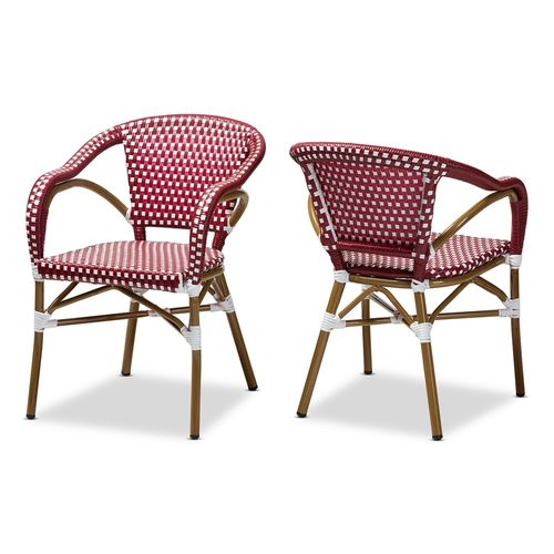 Baxton Studio Eliane Classic French Indoor and Outdoor Red and White Bamboo Style Stackable Bistro D