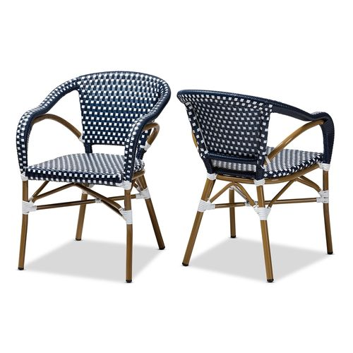 Baxton Studio Eliane Classic French Indoor and Outdoor Navy and White Bamboo Style Stackable Bistro