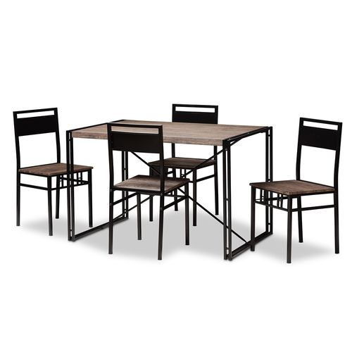 Baxton Studio Mamaine Rustic and Industrial Brown Wood Finished Matte Black Frame 5-Piece Dining Set