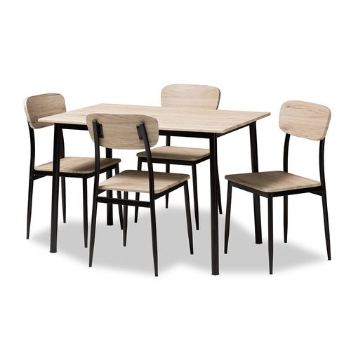 Baxton Studio Honore Mid-Century Modern Light Brown Wood Finished Matte Black Frame 5-Piece Dining S