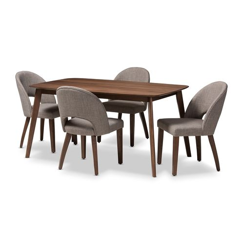 Baxton Studio Wesley Mid-Century Modern Light Grey Fabric Upholstered Walnut Finished Wood 5-Piece D