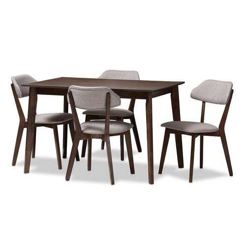 Baxton Studio Matilda Mid-Century Modern Walnut-Finished Light Grey Fabric Upholstered 5-Piece Dinin
