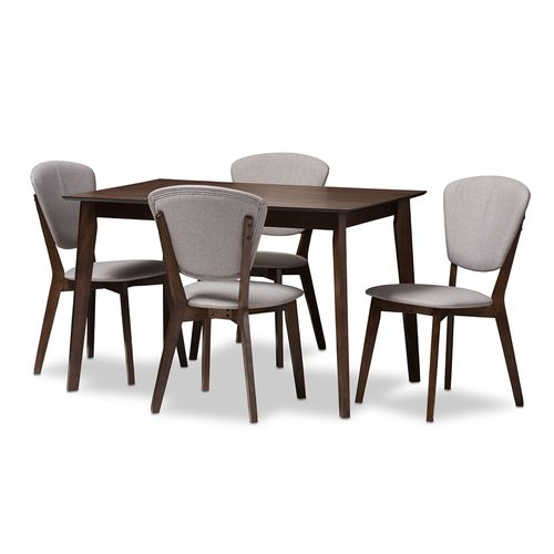 Baxton Studio Tarelle Mid-Century Modern Walnut-Finished Light Grey Fabric Upholstered 5-Piece Dinin