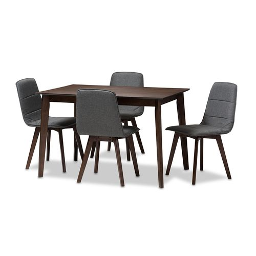 Baxton Studio Karalee Mid-Century Modern Dark Grey Fabric Upholstered 5-Piece Dining Set