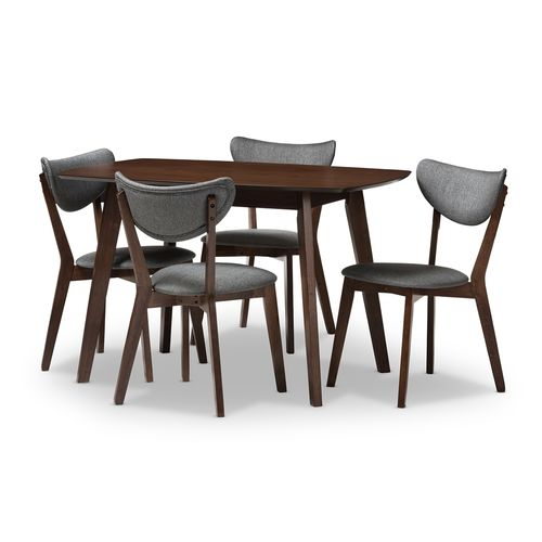Baxton Studio Hadrea Mid-century Modern Walnut-Finished Dark Grey Fabric Upholstered 5-Piece Dining