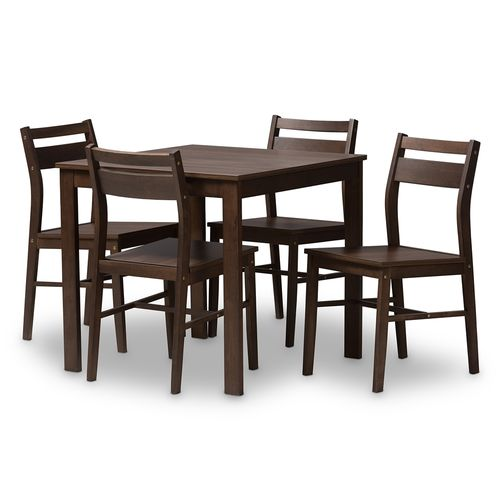Baxton Studio Lovy Modern and Contemporary Walnut-Finished 5-Piece Dining Set