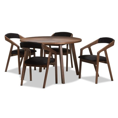 "Baxton Studio Wendy Mid-Century Modern Dark Grey Fabric and ""Oak"" Medium Brown Wood Finishing Dining"